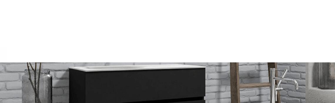 Mueble de baño suspendido Vica 100 negro mate 2 cajones en acabado negro mate. Un mueble de baño de apertura suave por uñero con encimera para grifo empotrado y seno izquierda.