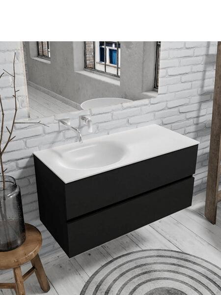 Mueble de baño 100 cm Vica negro mate con 2 cajones, lavabo de Solid surface seno izquierdo con 0 orificio(s) para el grifo.