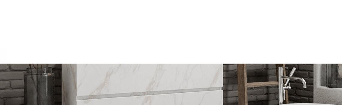 Mueble de baño suspendido Vica 120 carrara 2 cajones en acabado carrara mate. Un mueble de baño de seno centrado de apertura suave por uñero con encimera para grifo empotrado.