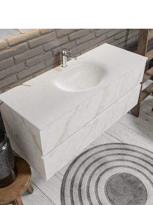 Mueble de baño suspendido Vica 120 carrara 2 cajones en acabado carrara mate. Un mueble de baño de apertura suave por uñero con encimera seno centrado c/orif.