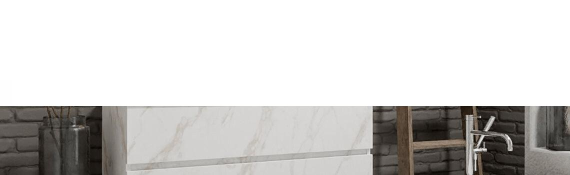 Mueble de baño suspendido Vica 120 carrara 2 cajones en acabado carrara mate. Un mueble de baño de apertura suave por uñero con encimera seno derecha c/orif.