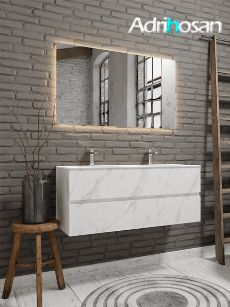Mueble de baño Vica 150 cm carrara mat con 2 cajones, lavabo de Solid surface seno doble con 2 orificio(s) para el grifo.
