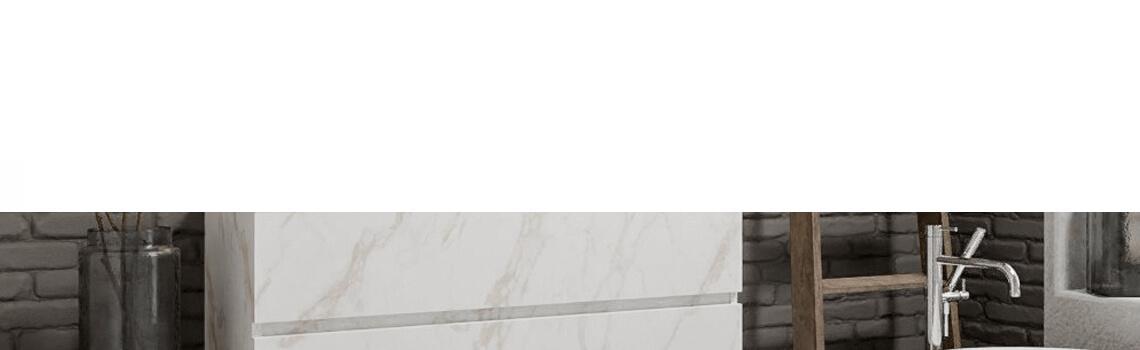 Mueble de baño suspendido Vica 120 carrara 2 cajones en acabado carrara mate. Un mueble de baño de seno izquierdo de apertura suave por uñero con encimera para grifo empotrado.