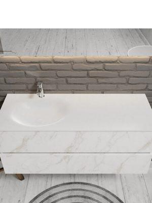 Mueble de baño suspendido Vica 120 carrara 2 cajones en acabado carrara mate. Un mueble de baño de apertura suave por uñero con encimera seno izquierda c/orif.