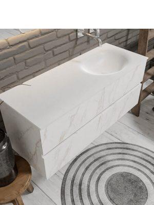 Mueble de baño suspendido Vica 120 carrara mate 4 cajones. Un mueble de baño de apertura suave por uñero con encimera para grifo empotrado y seno derecha.