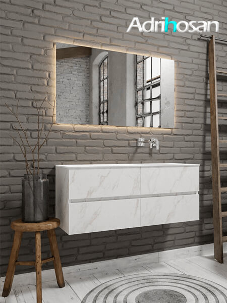 Mueble de baño Vica 150 cm carrara mat con 4 cajones, lavabo de Solid surface seno derecho con 0 orificio(s) para el grifo.