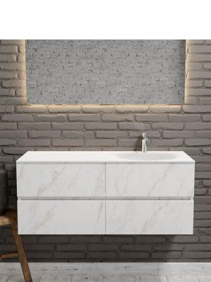 Mueble de baño suspendido Vica 120 carrara mate 4 cajones. Un mueble de baño de apertura suave por uñero con encimera para grifo sobre encimera y seno derecha