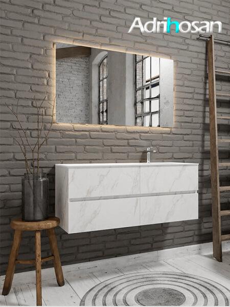 Mueble de baño Vica 150 cm carrara mat con 4 cajones, lavabo de Solid surface seno derecho con 1 orificio(s) para el grifo.