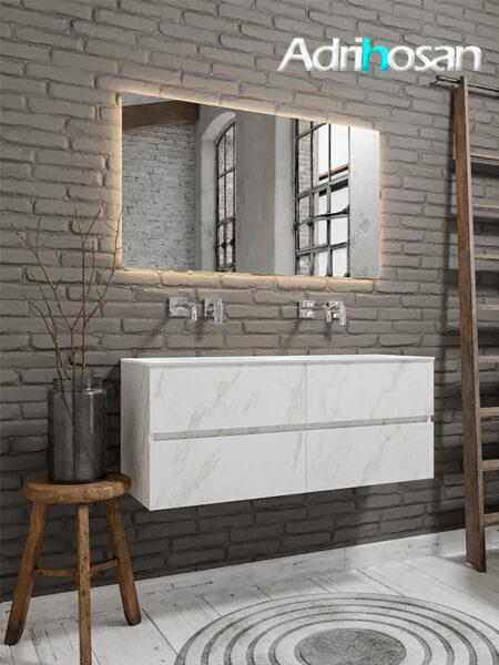 Mueble de baño Vica 150 cm carrara mat con 4 cajones, lavabo de Solid surface seno doble con 0 orificio(s) para el grifo.