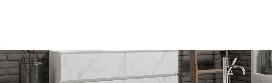 Mueble de baño suspendido Vica 120 carrara mate 4 cajones. Un mueble de baño de apertura suave por uñero con encimera sobre encimera y seno doble.