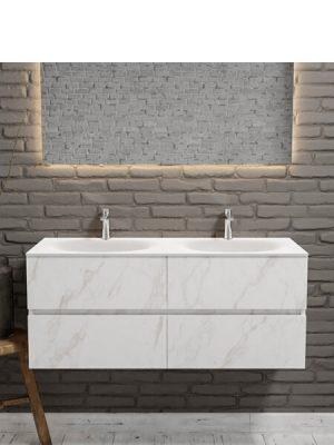 Mueble de baño suspendido Vica 120 carrara mate 4 cajones. Un mueble de baño de apertura suave por uñero con encimera para grifo sobre encimera y seno doble