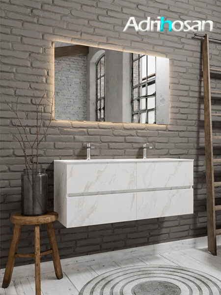Mueble de baño Vica 150 cm carrara mat con 4 cajones, lavabo de Solid surface seno doble con 2 orificio(s) para el grifo.