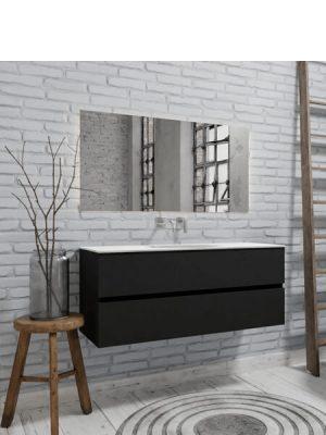 Mueble de baño suspendido Vica 120 negro 2 cajones en acabado negro mate. Un mueble de baño de seno centrado de apertura suave por uñero con encimera para grifo empotrado.
