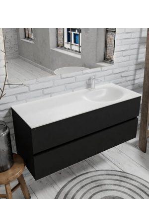 Mueble de baño suspendido Vica 120 negro 2 cajones en acabado negro mate. Un mueble de baño de apertura suave por uñero con encimera seno derecha c/orif.