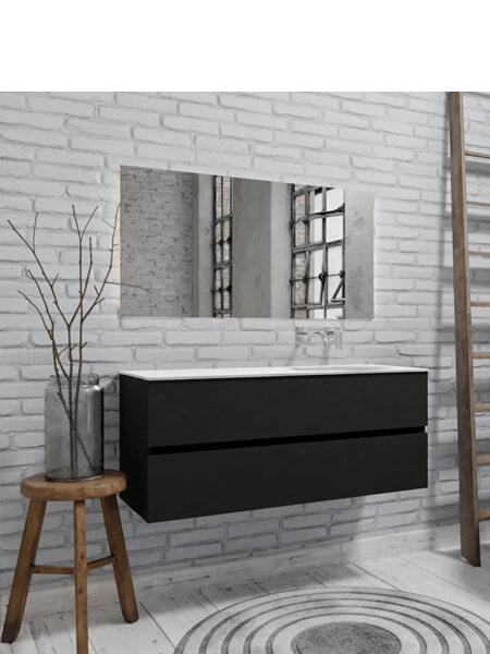 Mueble de baño 150 cm Vica negro mate con 2 cajones, lavabo de Solid surface seno derecho con 0 orificio(s) para el grifo.