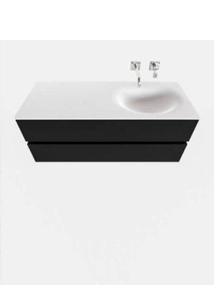Mueble de baño suspendido Vica 120 negro 2 cajones en acabado negro mate. Un mueble de baño de seno derecho de apertura suave por uñero con encimera para grifo empotrado.