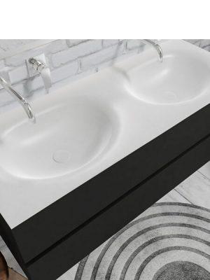 Mueble de baño suspendido Vica 120 negro 2 cajones en acabado negro mate. Un mueble de baño de seno doble de apertura suave por uñero con encimera para grifo empotrado.