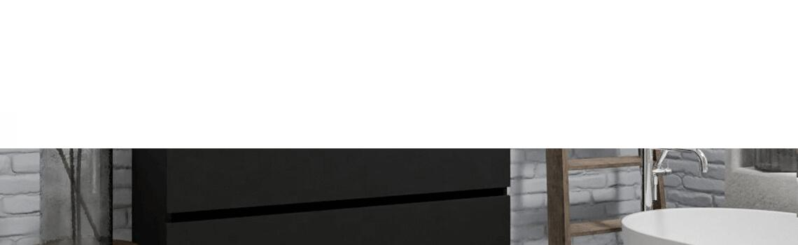 Mueble de baño suspendido Vica 120 negro 2 cajones en acabado negro mate. Un mueble de baño de apertura suave por uñero con encimera seno doble c/orif.