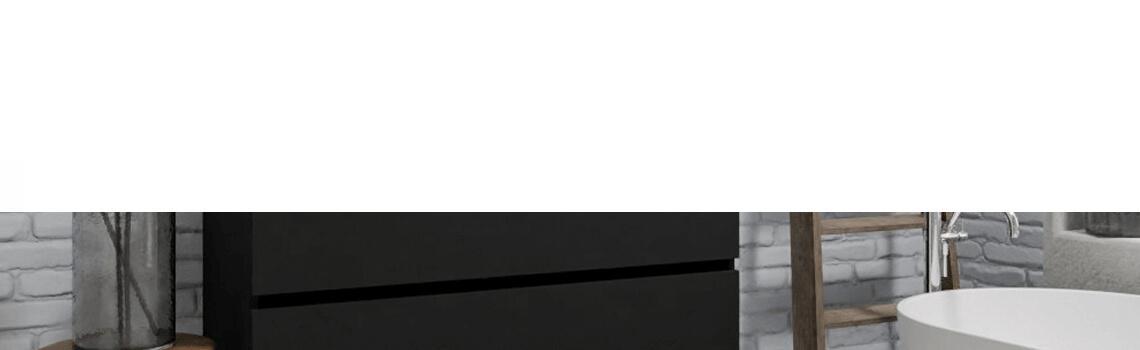 Mueble de baño suspendido Vica 120 negro 2 cajones en acabado negro mate. Un mueble de baño de seno izquierdo de apertura suave por uñero con encimera para grifo empotrado.