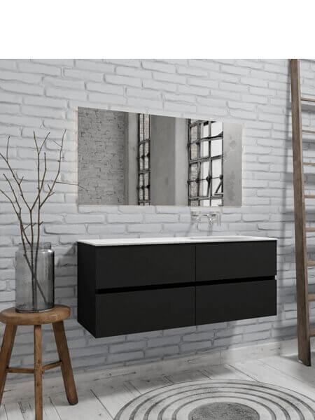 Mueble de baño 150 cm Vica negro mate con 4 cajones, lavabo de Solid surface seno izquierdo con 0 orificio(s) para el grifo.