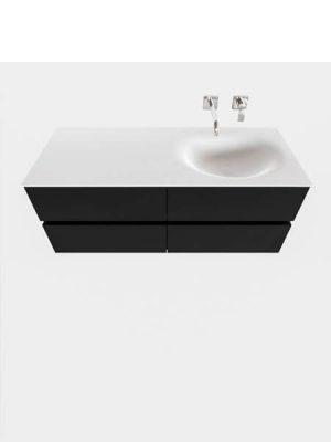 Mueble de baño suspendido Vica 120 negro mate 4 cajones. Un mueble de baño de apertura suave por uñero con encimera para grifo empotrado y seno derecha.
