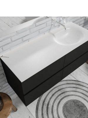 Mueble de baño suspendido Vica 120 negro mate 4 cajones en acabado negro mate . Un mueble de baño de seno izquierdo de apertura suave por uñero con encimera para grifo empotrado.