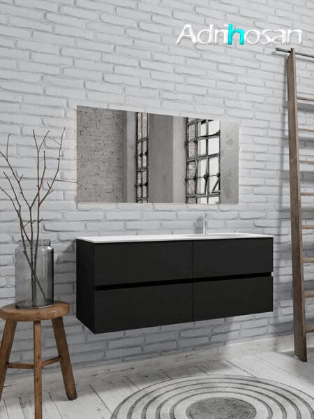 Mueble de baño 150 cm Vica negro mate con 4 cajones, lavabo de Solid surface seno derecho con 1 orificio(s) para el grifo.