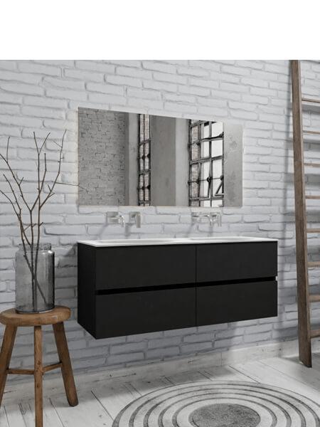 Mueble de baño suspendido Vica 120 negro mate 4 cajones. Un mueble de baño de apertura suave por uñero con encimera sobre encimera y seno doble.