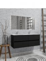 Mueble de baño suspendido Vica 120 negro mate 4 cajones. Un mueble de baño de apertura suave por uñero con encimera para grifo sobre encimera y seno doble