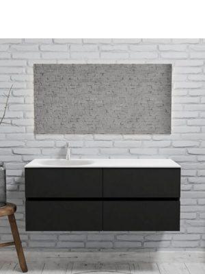 Mueble de baño suspendido Vica 120 negro mate 4 cajones en acabado negro mate . Un mueble de baño de seno izquierdo de apertura suave por uñero con encimera para grifo sobre encimera.