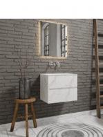 Mueble de baño suspendido Vica 60 carrara mat 2 cajones en acabado carrara mate. Un mueble de baño de apertura suave por uñero con encimera para grifo empotrado.