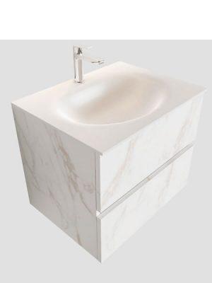 Mueble de baño suspendido Vica 60 carrara 2 cajones en acabado carrara mate.Mueble de baño de apertura suave por uñero con encimera para grifo sobre encimera.