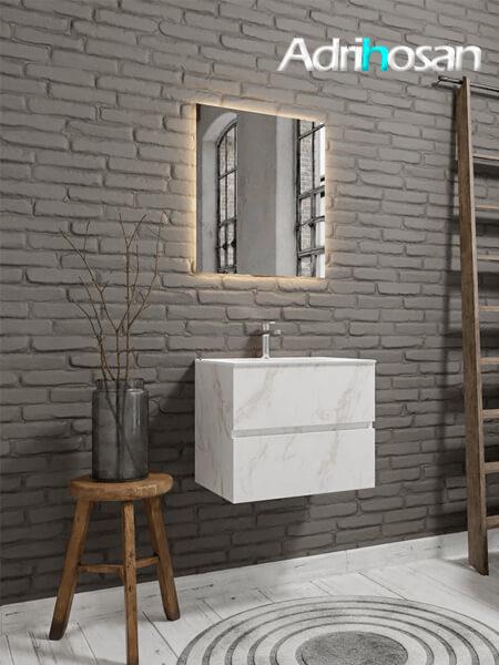 Mueble de baño Vica 60 cm carrara mat con 2 cajones, lavabo de Solid surface seno centrado con 1 orificio(s) para el grifo.