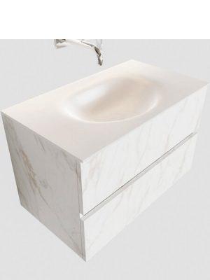 Mueble de baño suspendido Vica 80 carrara 2 cajones en acabado carrara mate. Un mueble de baño de apertura suave por uñero con encimera para grifo empotrado.