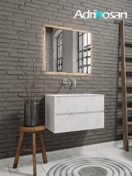 Mueble de baño Vica 80 cm carrara mat con 2 cajones, lavabo de Solid surface seno centrado con 0 orificio(s) para el grifo.
