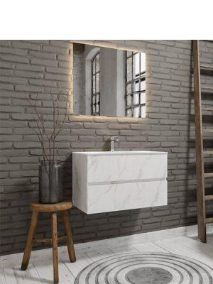 Mueble de baño suspendido Vica 80 carrara 2 cajones en acabado carrara mate.Mueble de baño de apertura suave por uñero con encimera para grifo sobre encimera.