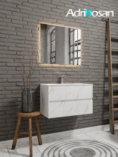 Mueble de baño Vica 80 cm carrara mat con 2 cajones, lavabo de Solid surface seno centrado con 1 orificio(s) para el grifo.