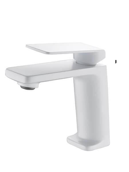 Monomando lavabo Lugo blanco mate. La grifería Lugo se caracteriza por las suaves curvas que delimitan su contorno.