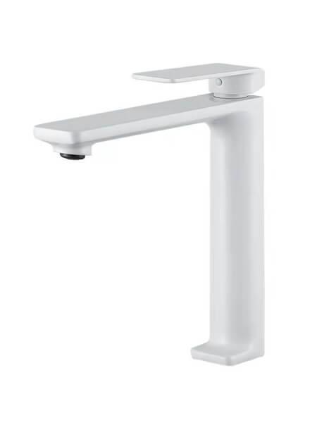 Monomando lavabo alto Lugo blanco mate. La grifería Lugo se caracteriza por las suaves curvas que delimitan su contorno.