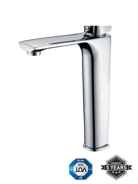 Monomando lavabo alto Liria cromo brillo. La grifería Liria se caracteriza por las suaves curvas que delimitan su contorno.