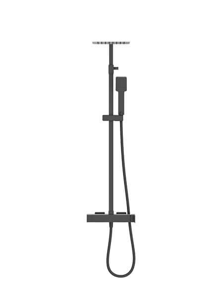 Columna de ducha monomando Lugo negro mate. Sugerente y atractivo conjunto de ducha monomando con altura regulable y diseño exclusivo.