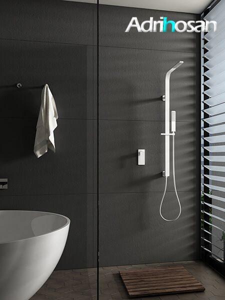Conjunto ducha empotrado blanco bristol grifería, rociador y teléfono.