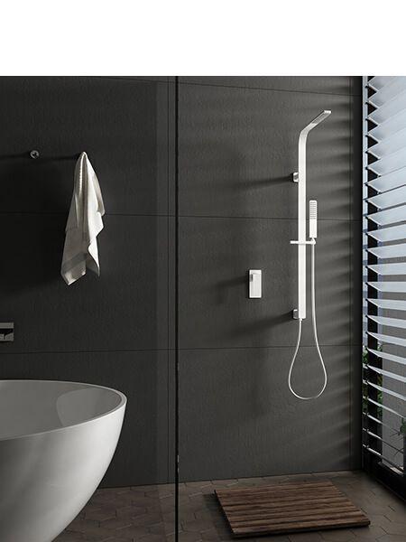 Conjunto ducha empotrado blanca bristol grifería, rociador y teléfono.