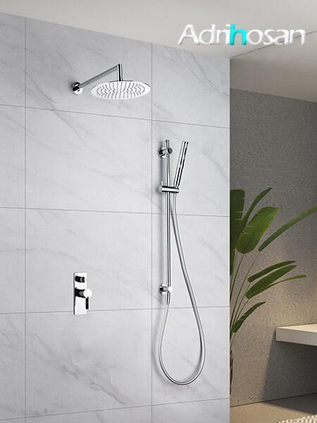 Conjunto ducha empotrado Huesca grifería, rociador y teléfono.
