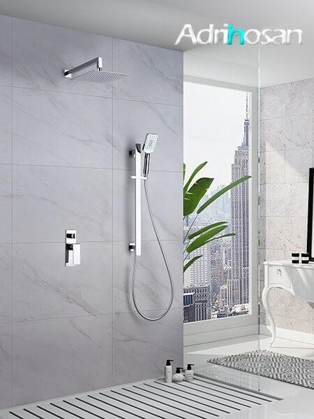 Conjunto ducha empotrado Leeds grifería, rociador y teléfono.
