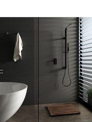 Conjunto ducha empotrado negro bristol grifería, rociador y teléfono.