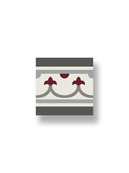 Pavimento imitación hidráulico Classic rojo cenefa 20x20 cm