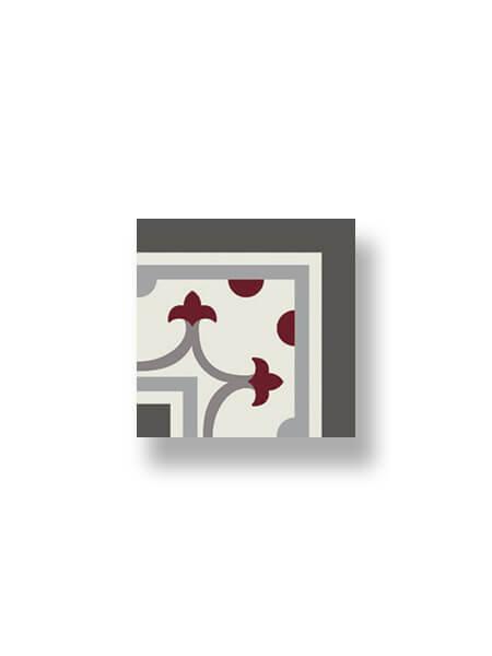 Pavimento imitación hidráulico Classic rojo esquina 20x20 cm.