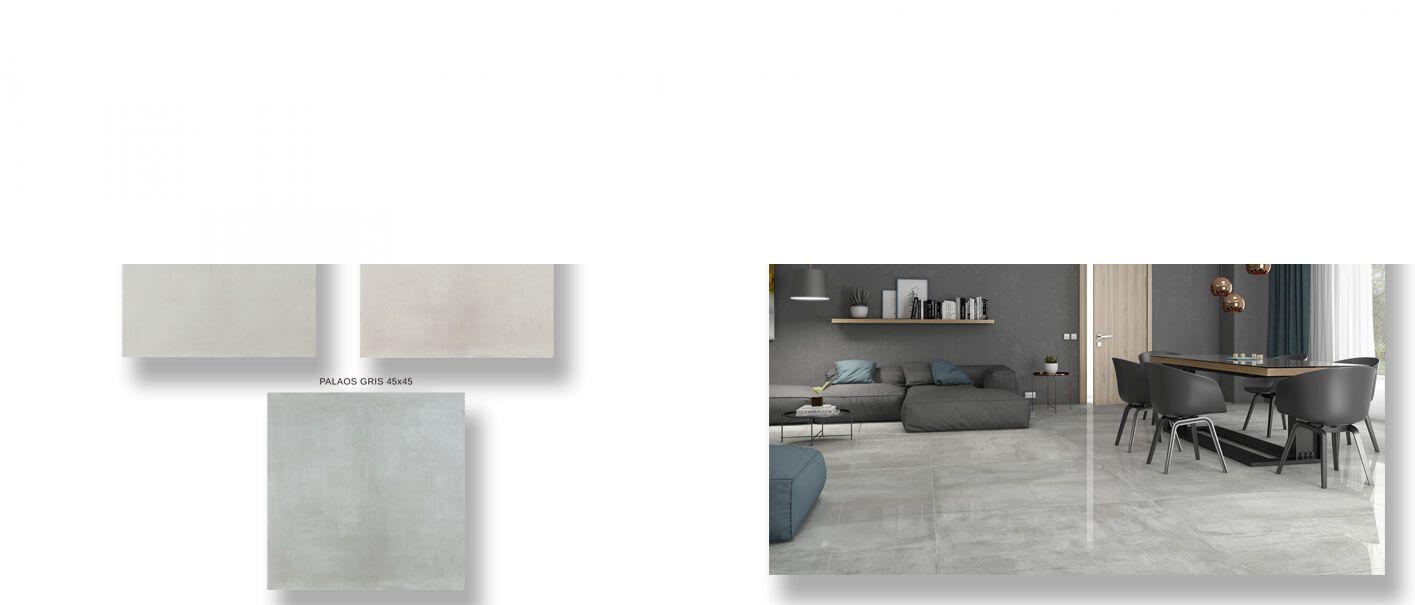 Pavimento porcelánico imitación cemento Palaos 45 x 45 cm.