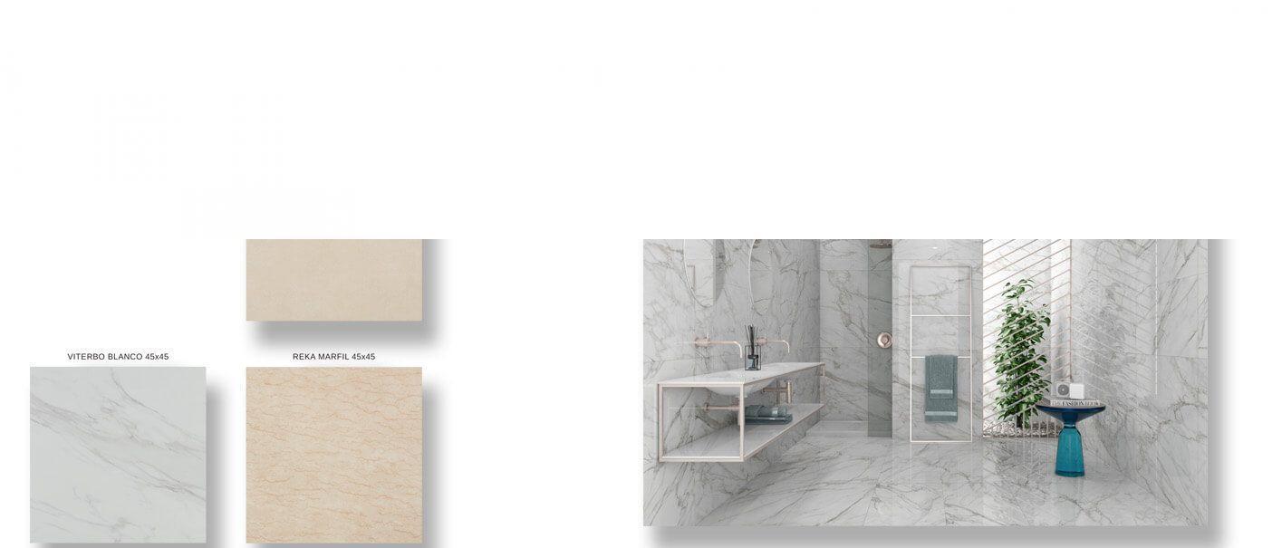 Pavimento porcelánico imitación mármol 45 x 45 cm.